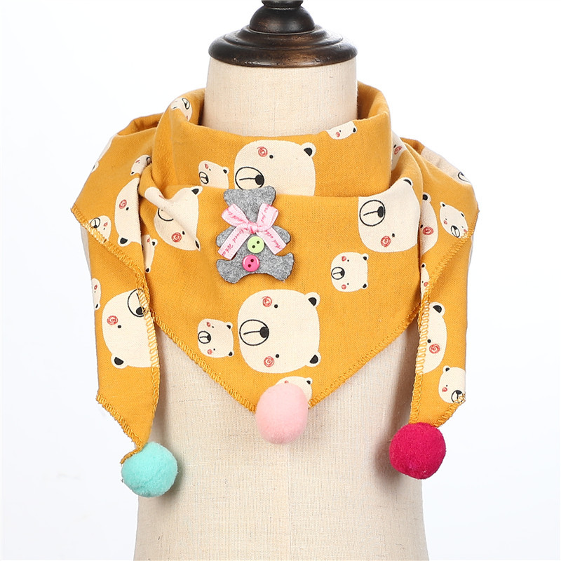 Cotton Scarf Girls Triangle Scarves Autumn Winter Boys Shawl Neckerchief Print Kid Baby Bib Collar Wear Accessories