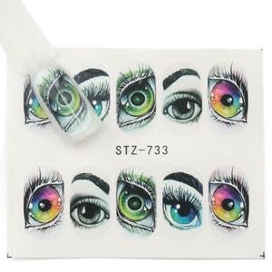 Image 3 - 25pcs Halloween Designs Nail Stickers Skull Bone Clown Ghost Big Eye Horror Decals Water Transfer Stickers Art DIY Decorations