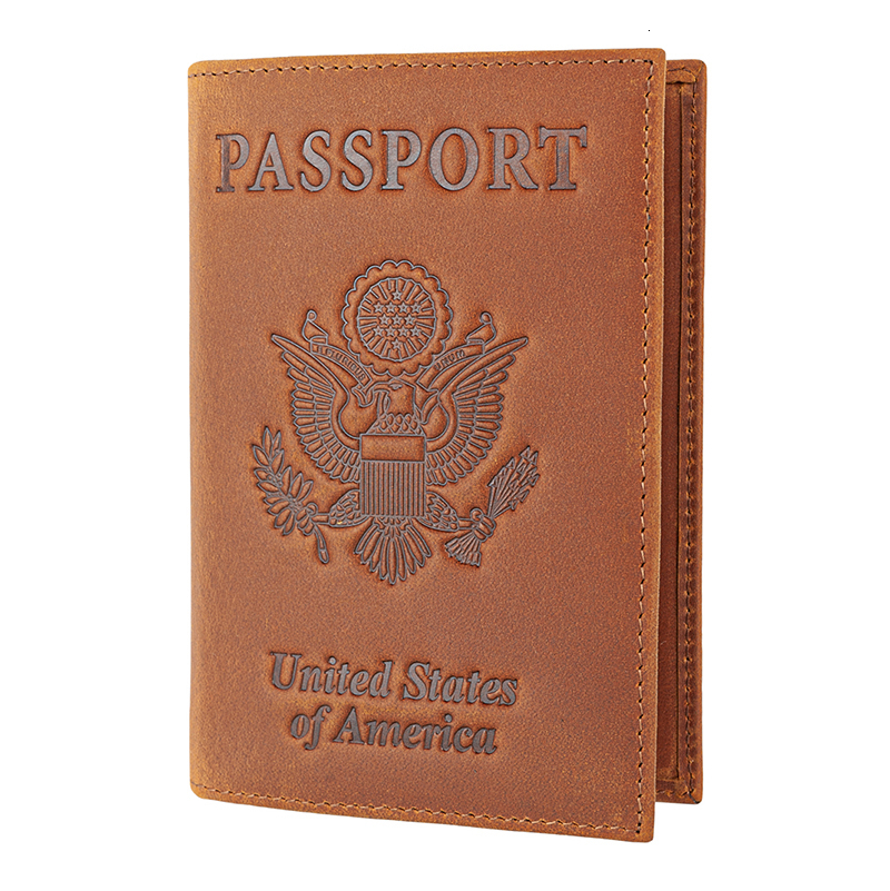 RFID Blocking USA Passport Holder Wallet Cover Case Genuine Crazy Horse Leather