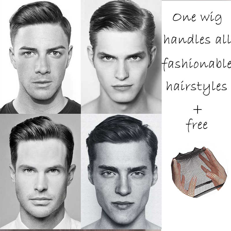 HOUYAN100% natural lifelike men's short wig 100% real breathable hair quality is good