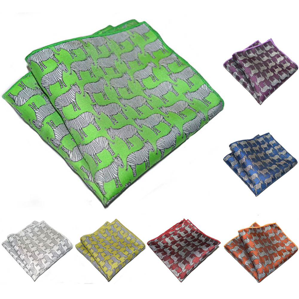 Men Formal Handkerchief Stylish Zebra Pattern Hanky Pocket Square Wedding Party