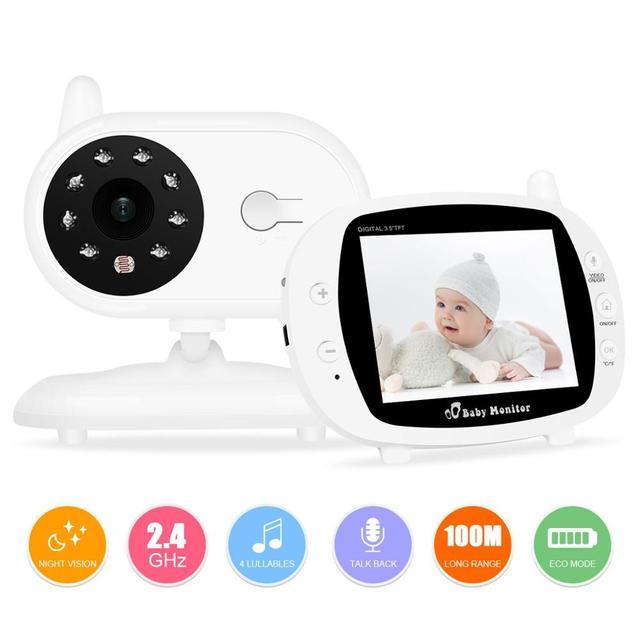 บันทึกเสียงทารกเด็กไร้สาย 3.5 นิ้วหน้าจอ LCD Audio Video Baby Monitor วิทยุพี่เลี้ยงเพลง Intercom บันทึกเสียงทารกกล้อง US Plug
