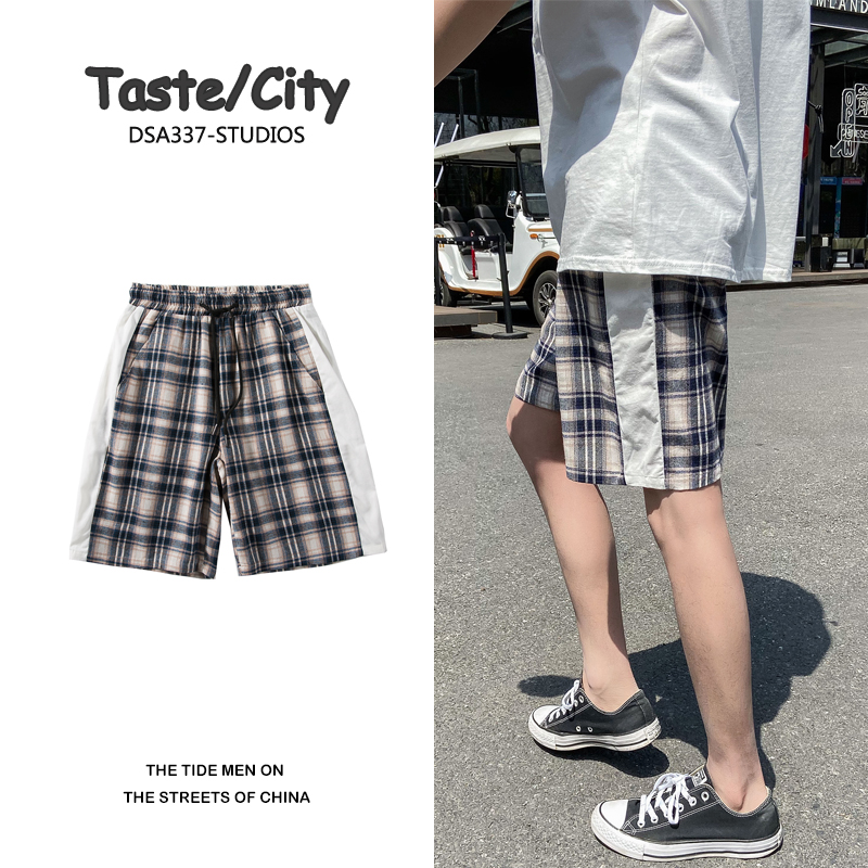 Summer Drawstring Plaid Shorts Men's Fashion Retro Casual Shorts Men Streetwear Wild Hip-hop Loose Beach Shorts Mens M-2XL