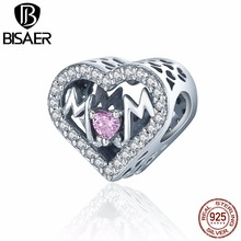 цена на BISAER Authentic 925 Sterling Silver Mother Gift Love Mom Forever Heart Charm Beads fit Charm Bracelet DIY Jewelry Making GXC395