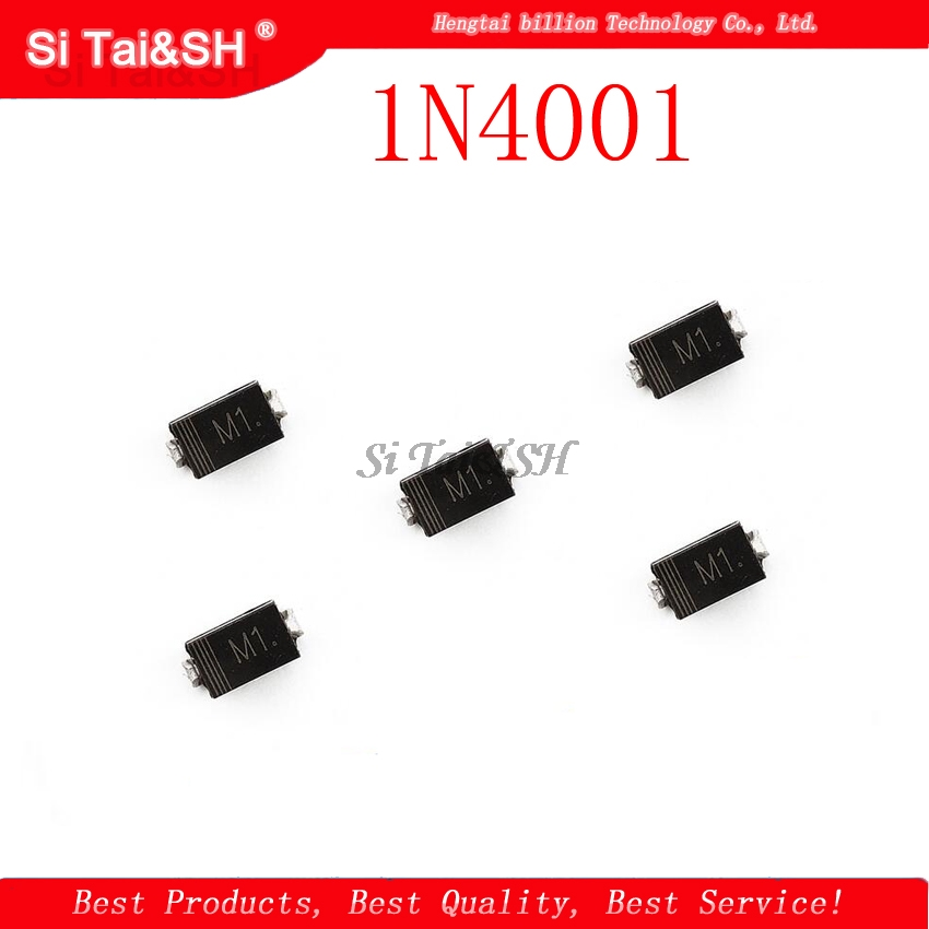<font><b>100PCS</b></font> 1N4001 M1 1N4004 M4 <font><b>1N4007</b></font> M7 FR107 RS1M SMA Rectifier diode FR207 RS2M HER108 US1M SF18 ES1J SF14 ES1D DO-214AC image