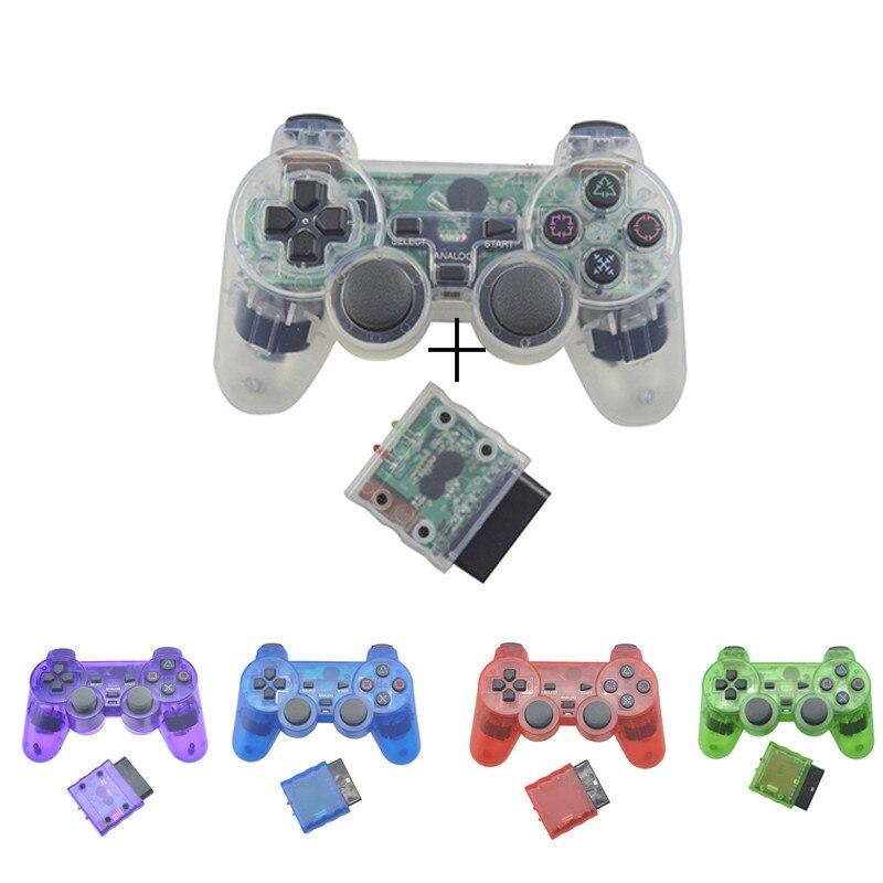 Controlador sem fio transparente do gamepad de bluetooth da cor para o controle da vibração de sony ps2 2.4g para o joystick de plastation 2