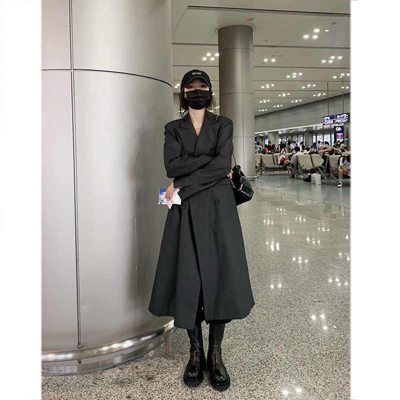 Женский костюм в стиле ретро с воротником, серый длинный костюм, весна-осень 2020, новая Корейская версия, сетчатый красный костюм, пальто, прямое пальто, черный