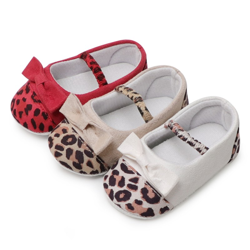 Baby Shoes Girls Mocassin Baby Shoes Spring Leopard 4 Color Cotton First Walker Shoes For Baby Bowknot Newborn