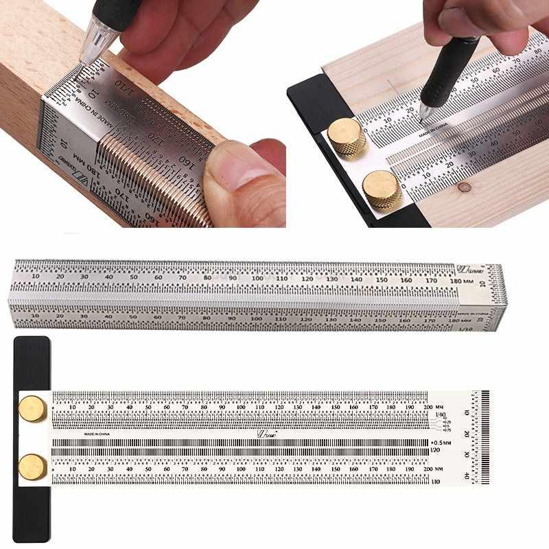 Regla de posicionamiento de orificios Regla de marcado de carpintero Herramientas de regla en T para dibujar l/íneas horizontales