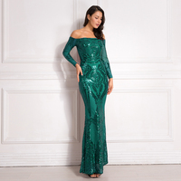 Green Sequined Maxi Dresses Off The Shoulder Slash Neck Party Dresses Elegant Maxi Dress Sequined Dress Burgundy
