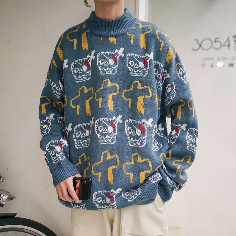 2019 Autumn New Pullover Trend Fashion Cartoon Sweater Long Sleeve Mens Thick Clothes Japan Style Hip Hop Black Blue