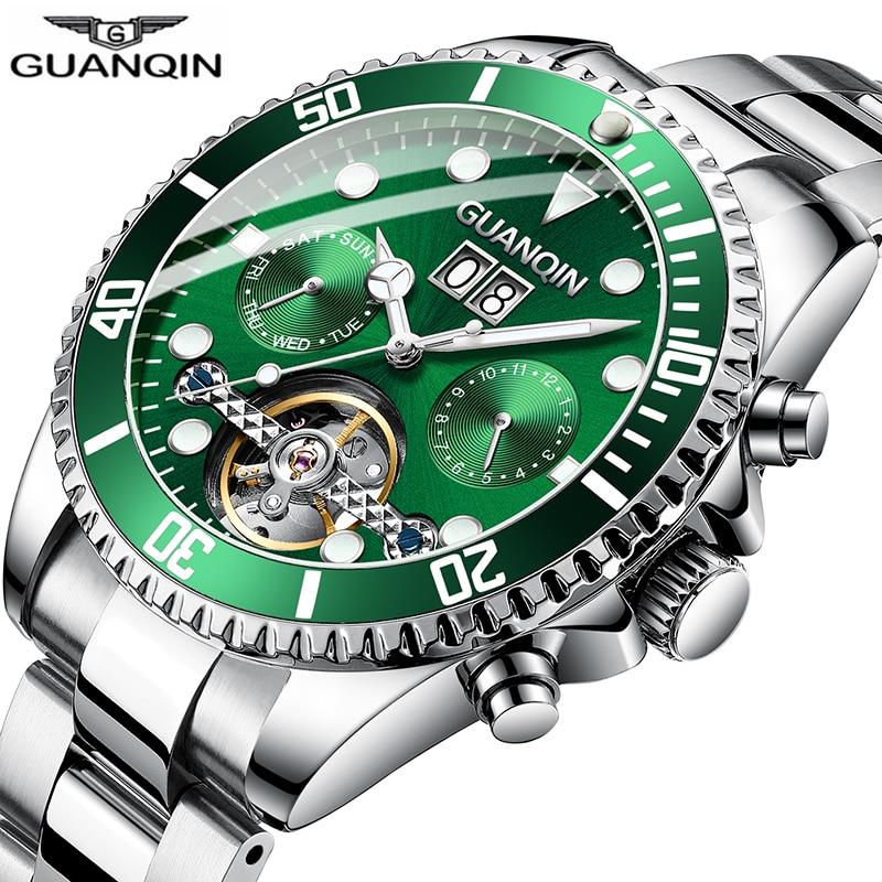 GUANQIN Men Automatic Tourbillon Watch Skeleton Mechanical  Watch Sport Waterproof Automatic Watch Male Clock  Relogio Masculino