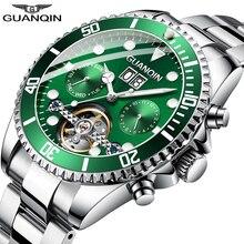 GUANQIN Men Automatic Tourbillon Watch Skeleton Mechanical