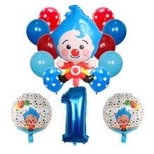 14 pçs/set Plim Palhaço Folha Número Balões Globos De Ar De Látex Crianças Baby Shower Decorações Da Festa de Aniversário Crianças Brinquedos Infláveis