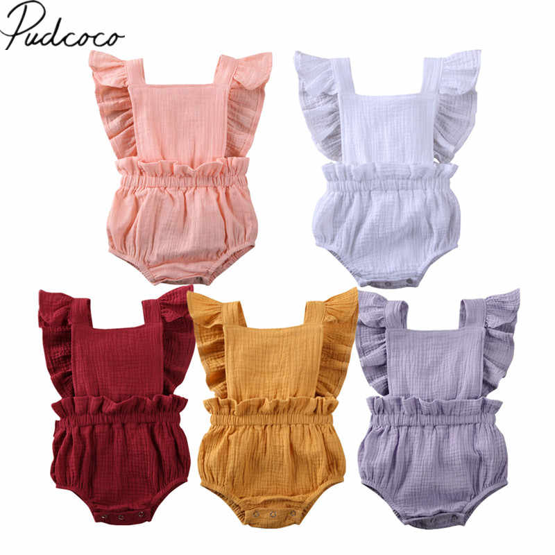 2020 Baby Summer Clothing Newborn Baby Girl Ruffle Bodysuit Jumpsuit Sleeveless Solid Cotton Linen Sunsuit Outfits Clothes