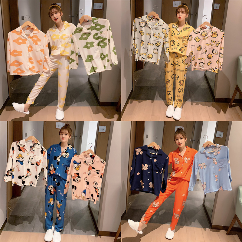 [Temperature Attitude Warm] Spring Summer Nightgown Women's Cartoon Casual Long Sleeve Cardigan Suit Stretch Satin Fold-down Col