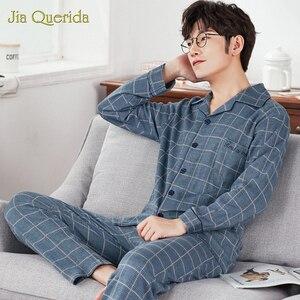 Image 2 - J & Q Neue Pyjama Set Männer Revers Marke Qualität Schlaf Top & Bottoms Freizeit Haus Tragen Plaid Pyjamas Plus größe Männlichen Strickjacke Nachtwäsche
