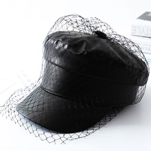 Veil Flat-Hat-Accessories Newsboy-Caps Lace Black Spring Women Autumn And MAXSITI