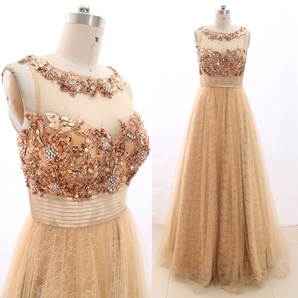 MACloth Gold Ball Gown O Neck Floor-Length Long Crystal Tulle   Prom     Dresses     Dress   M 266469 Clearance