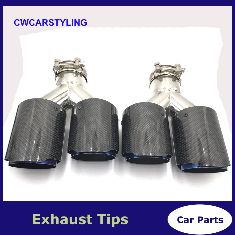 One Pair Y Style Glossy Carbon blue Stainless Steel Exhaust Dual tips Universal ak Car Exhaust Tips for BMW for Benz