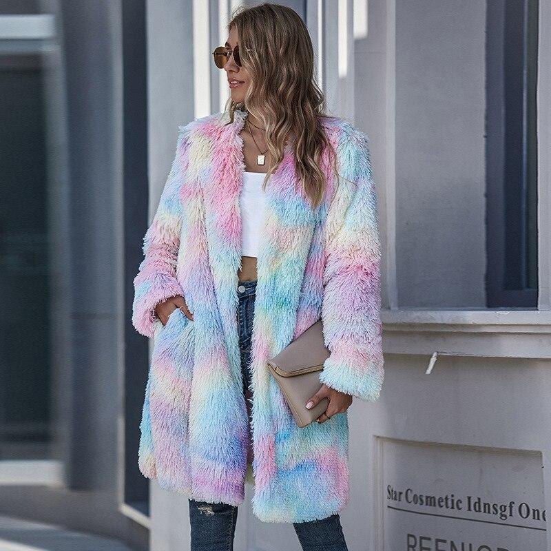 Осенне зимний модный женский свитер, цветные длинные пальто с длинными рукавами и v образным вырезом, меховая пушистая куртка, пальто с широкой талией|Куртки из искусственного меха| | АлиЭкспресс