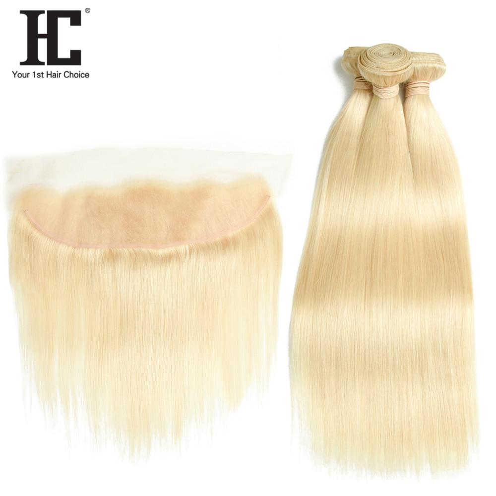 Hc 613 pacotes com frontal loira 3 pacotes com fechamento 13x4 remy 613 brasileiro feixes de tecer cabelo humano em linha reta com frontal
