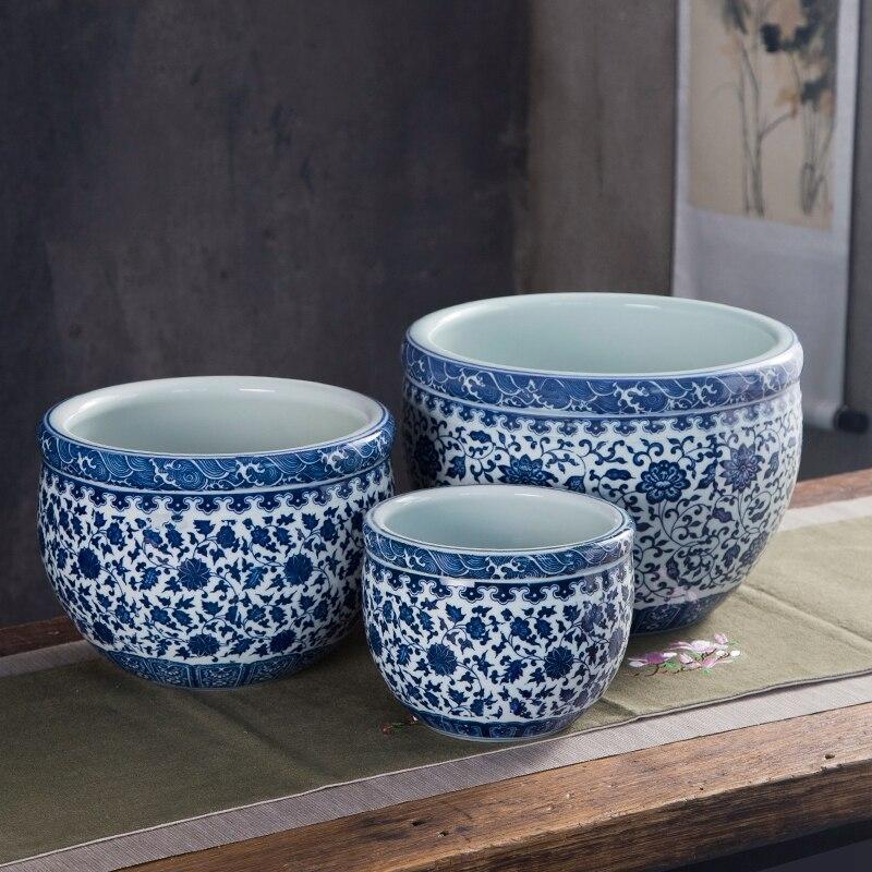 3 pièces Set Antique chinois poisson bol réservoir rond bleu et blanc porcelaine Dragon vigne et Floral imprimé en céramique poissons bols Vases