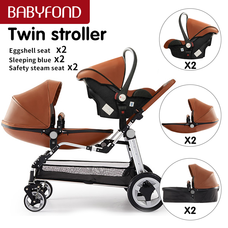 Babyfond leather Egg shell Twins stroller 3 in 1 high landscape stroller Folding Luxury Double baby Pram free ship two bassinets 1