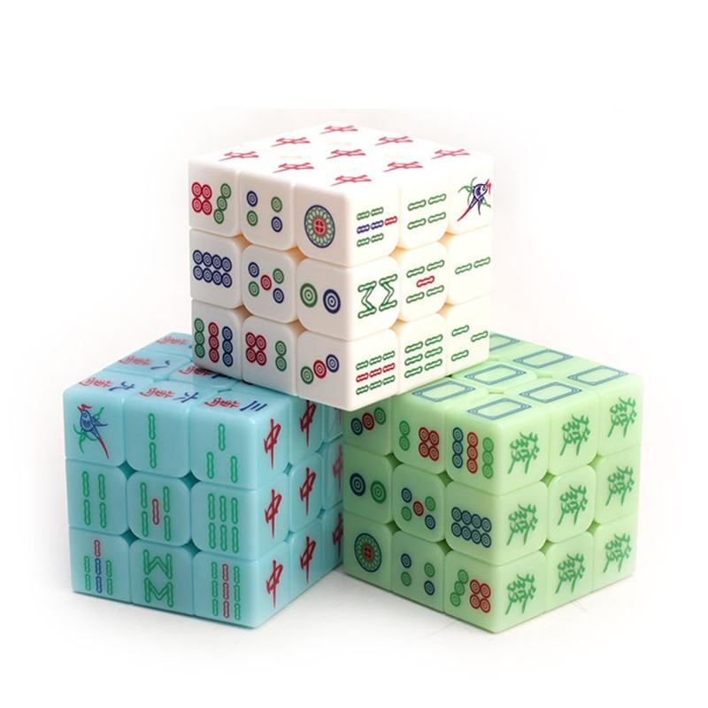 3x3x3 Zcube Chinese Style Mahjong Magic Cubes Speed Puzzle Cubes Smooth Transparent Luminous Cube Educational Toys For Children