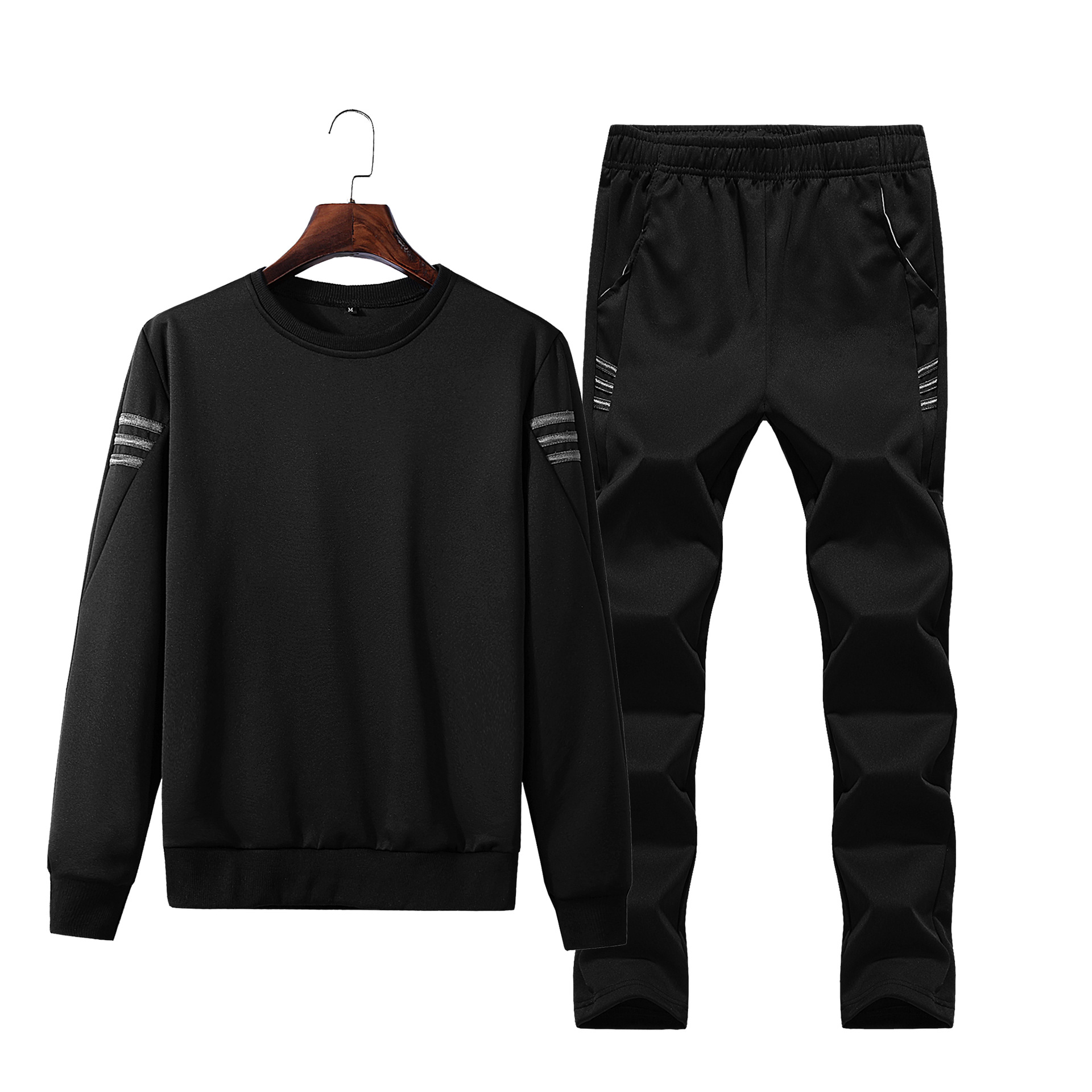 Spring And Autumn Korean-style Slim Fit Casual Sports Clothing Long Sleeve Crew Neck Hoodie Suit Male Two-Piece Men'S Wear