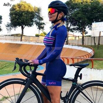Ciclismo feminino kafitt roupas de manga longa triathlon ciclista macaco verão mulher ciclismo macacão 20d almofada gel com frete grátis 1