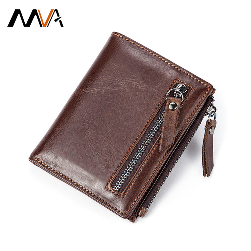 2019 New Genuine Leather Mens Wallet Man Zipper Short Coin Purse Brand Male Cowhide Credit ID Wallet Slim Small Wallets