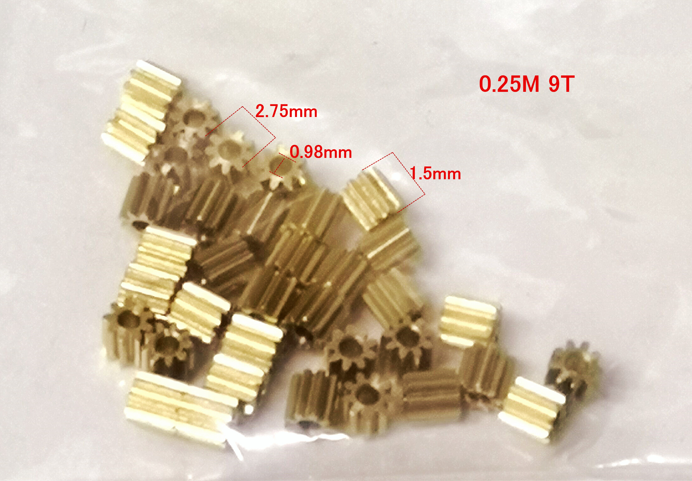 0.25M 9T 9 Teeth Machinery Small Gear Metal Copper Hole 1mm Tight Fit