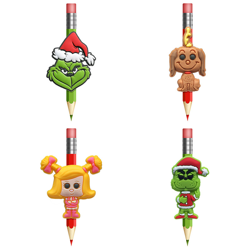 4pcs/lot Hot Sales Classic Cartoon Figure PVC Pen Caps Pencil Topper  Office Stationery School Supply Straw Accessory Gift Kids