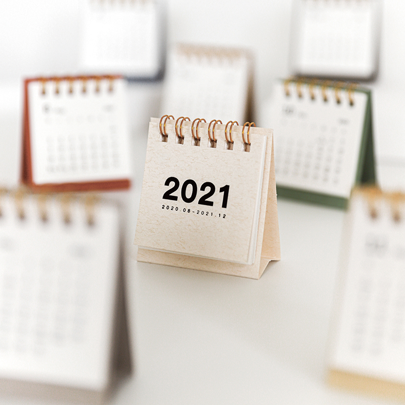 2021 Simple solid color mini Desktop Paper simple Calendar dual Daily Scheduler Table Planner Yearly Agenda Organizer 1