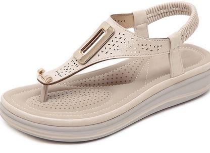 YEELOCA 2020 Platform Flip Flops Women Solid Color Beach Sandals Soft Leather Comfortable Low  TR0463