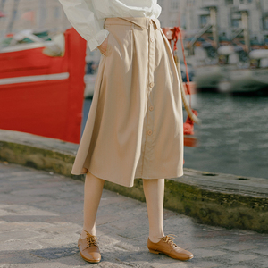 Image 3 - INMAN 2020 Spring New Arrival Literary Retro Single breasted A line long Umbrella Skirt