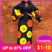 Casual Loose Women Plus Size Flare Sleeve Floral Print A-Line Dress Long Maxi Female Dresses Robe Vestiods Elegant 2019