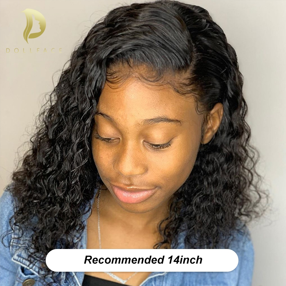 Brazilian Curly Lace Front Human Hair Wigs Short Bob Wig Pre Plucked With Baby Hair For Black Women 4x13 Freeshipping Dollface