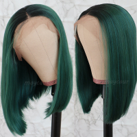 Ombre Green Bob Lace Front Wigs For Women Heat Resistant Short Straight Synthetic Wig 14 inch