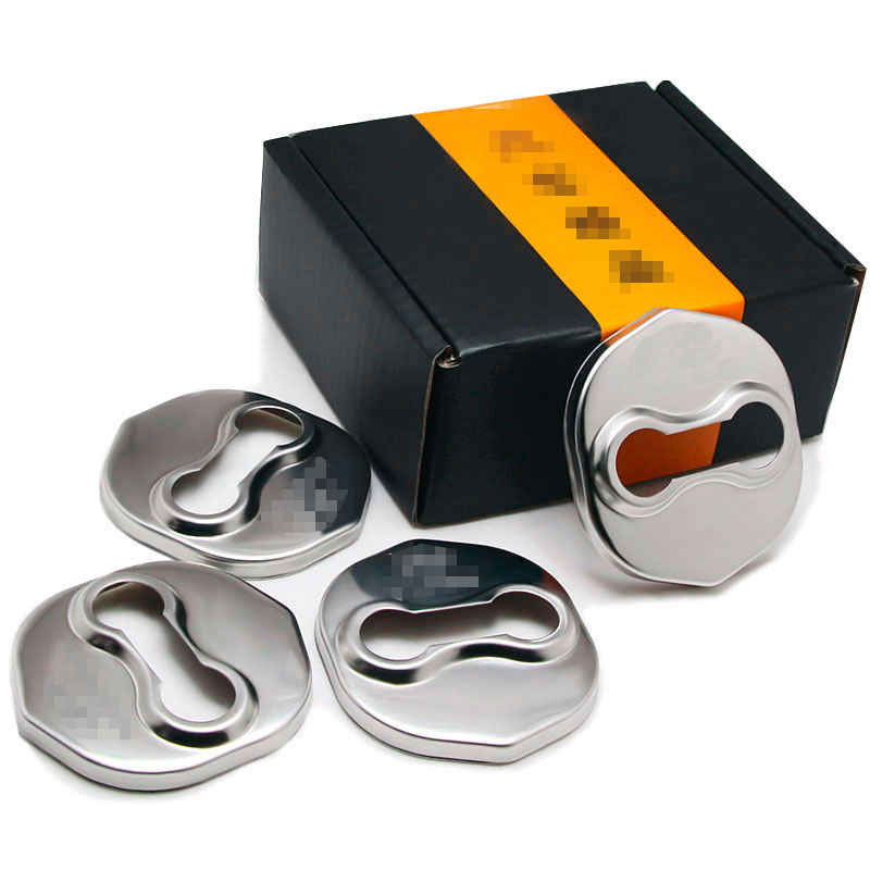 3D Stainless Steel Door Lock Buckle Protection Protective Cover Trim For <font><b>HYUNDAI</b></font> <font><b>SANTA</b></font> <font><b>FE</b></font> IX45 2013 2017 <font><b>2020</b></font> car Accessories image
