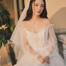 2020 Vestidos Celebrities Vibrato Sen Wedding Dress 2020 New Bridal Gown, Shoulder Length Trailing, Xian Thin Female Little(China)