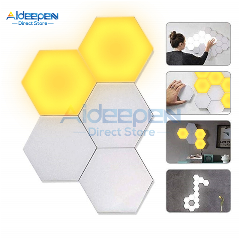 Hexagonal LED Quantum Lamps Modular Touch Sensitive Lighting Night Light Magnetic Hexagons DIY Creative Decoration Wall Lampara