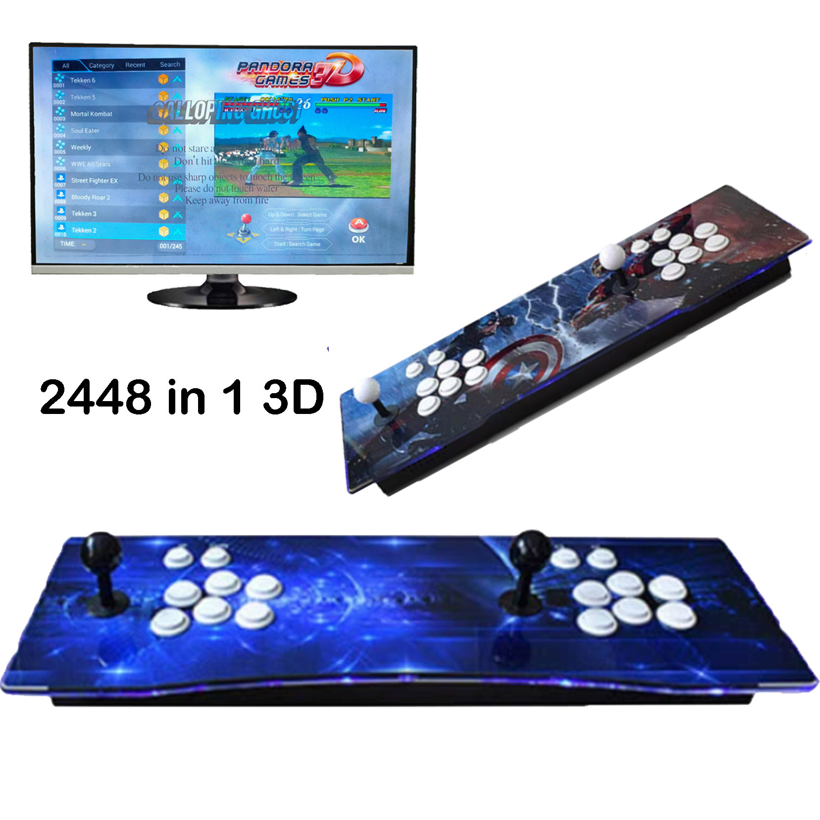 YOG Pandora Box 3D Arcade Box 2448 In 1 Wifi Version No Delay Joystick 8 Buttons PCB Controller Retro Arcade Console