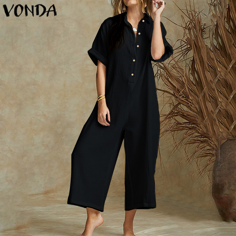 VONDA Vintage Wide Leg Pants Female 2020 Summer Rompers Women Jumpsuits Short Sleeve Plus Size Playsuits Elegant Solid Overalls