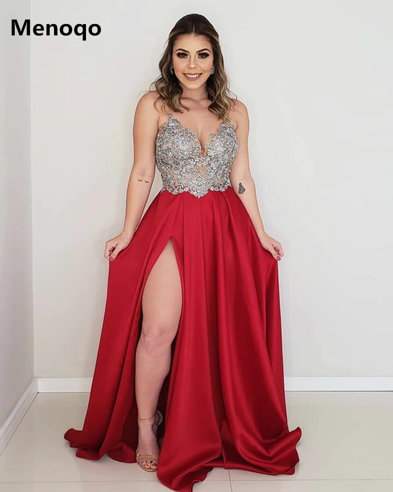 Sexy Satin Evening Gowns Appliques Spaghetti Straps Prom Dresses With Side Slit Sleeveless A Line Backless Formal Robe De Soiree