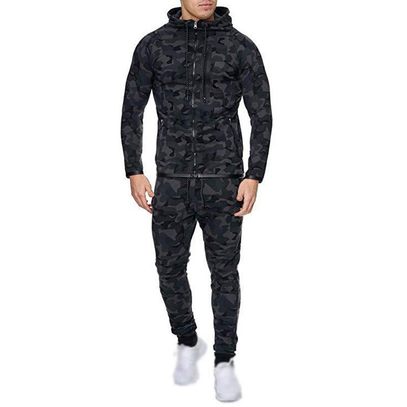 Men's Tracksuit 2pcs Set Long Sleeve Tops +Trousers Camouflage Zip Men's Sets Military