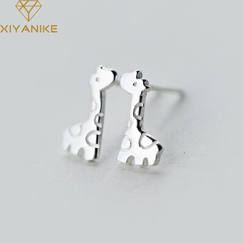 XIYANIKE 925 Sterling Silver Cute Giraffe Prevent Allergy Stud Earrings For Women Loves Trendy Elegant Wedding Animal Jewelry