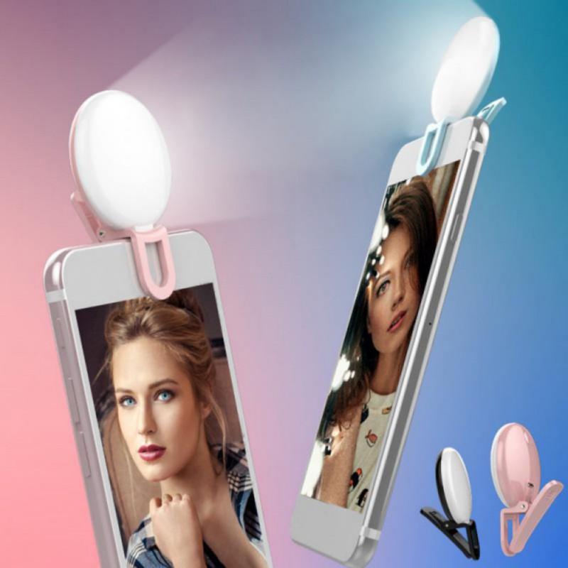 Cell Phone Selfie Clip Ring Light Clip-on Flash Led Fill Light Smartphone Photo Memory Card