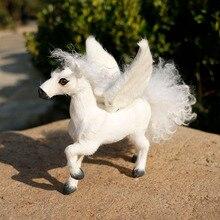 цена Stuffed plush toy white horse Unicorn fur simulation animal toy horse beast home decoration children gift teaching props онлайн в 2017 году